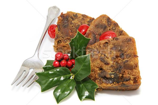 Finom karácsony gyümölcstorta szeletel közelkép tányér Stock fotó © lisafx