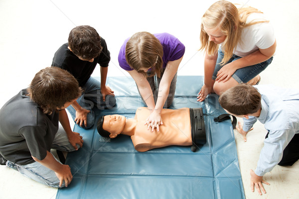 Teenagers Practice CPR Stock photo © lisafx