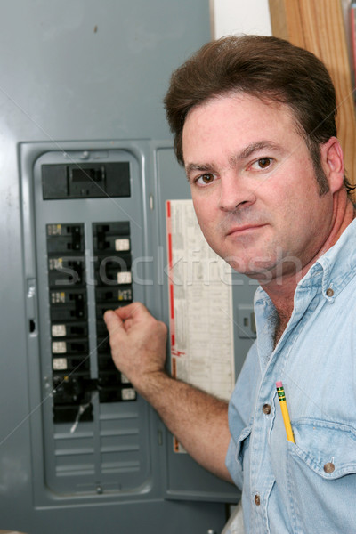 Electrician At Breaker Panel Stock photo © lisafx