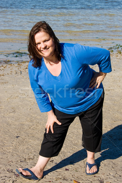 Plus Sized Fitness- Stretch on Beach Stock photo © lisafx