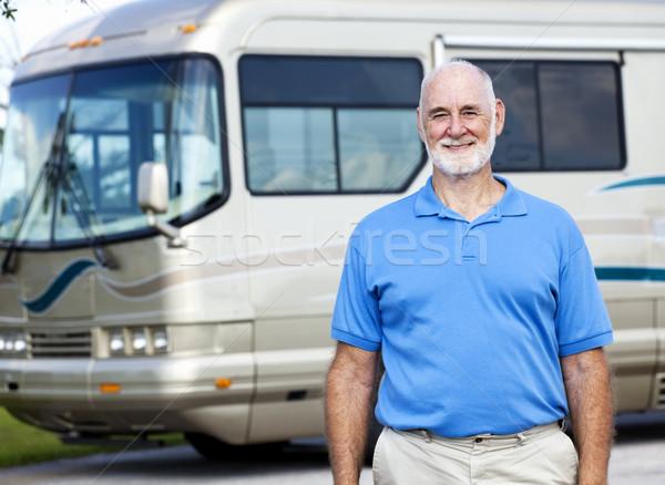 Idős férfi motor otthon jóképű áll Stock fotó © lisafx