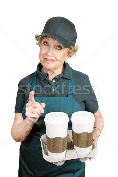 Altos trabajador confrontación Cafetería difícil cliente Foto stock © lisafx