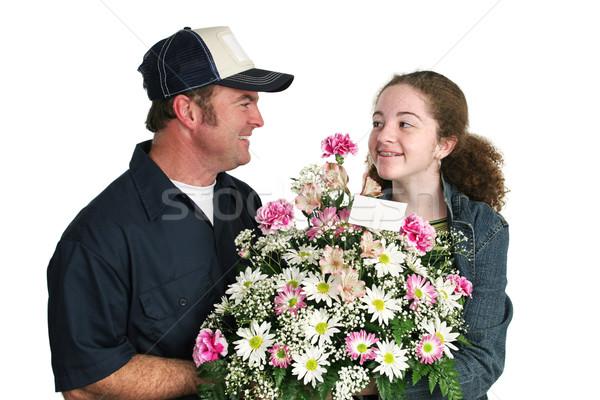 Teen Girl Loves Flowers Stock photo © lisafx