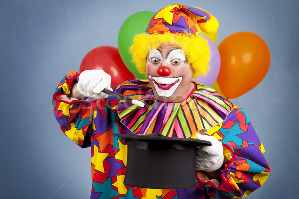 Verjaardag clown magie show top hoed Stockfoto © lisafx