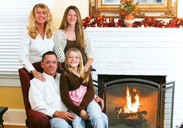 Family By Fireside Stock photo © lisafx