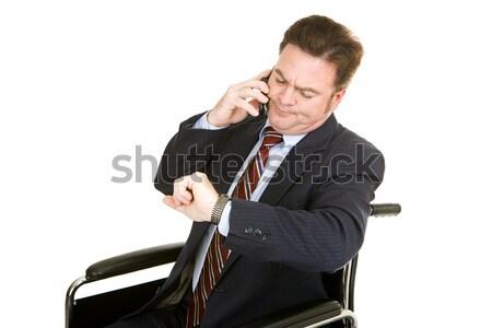 Nudny telefonu rozmowy niepełnosprawnych biznesmen patrząc Zdjęcia stock © lisafx