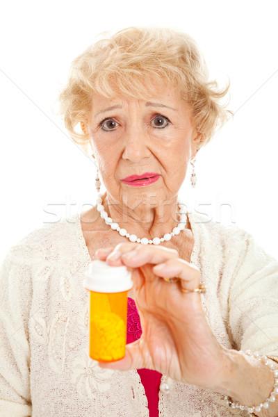 Stock foto: Traurig · Senior · Frau · Pillen · halten · Flasche