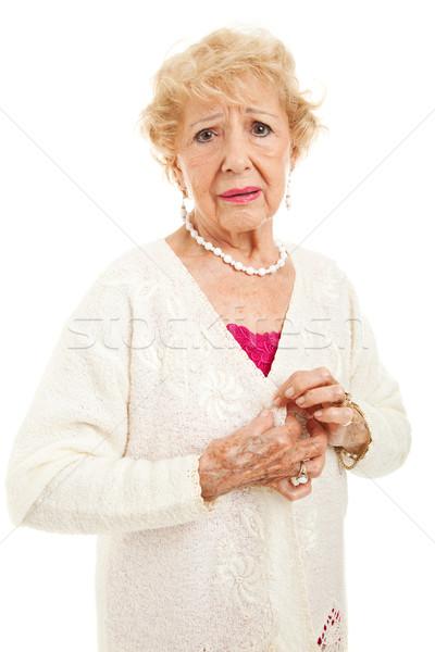 Idős fájdalmas nő gomb pulóver izolált Stock fotó © lisafx