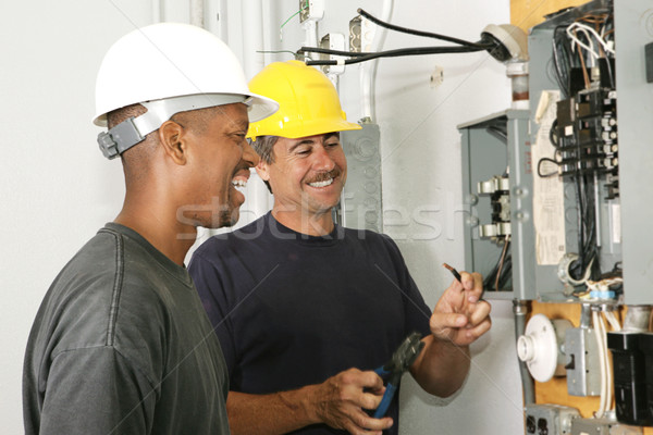 Stock photo: Electricians Enjoy Their Job