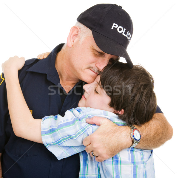 Police and Boy Hug Stock photo © lisafx