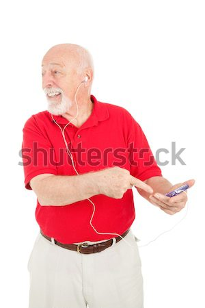 Senior Man Confused by MP3 Player Stock photo © lisafx