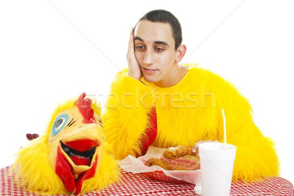 Stockfoto: Teen · baan · jongen · depressief · werken · fastfood · restaurant