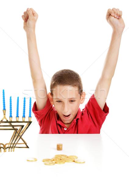 Boy Playing Dreidel on Hanukkah Stock photo © lisafx