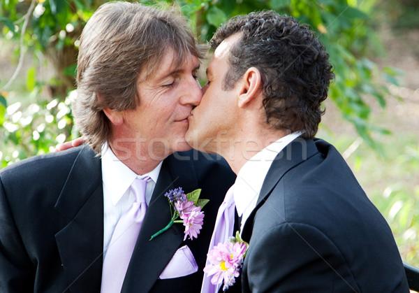 Kus bruidegom knap homo mannelijke paar Stockfoto © lisafx
