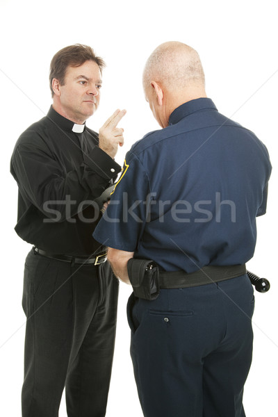 Priest Blesses Policeman Stock photo © lisafx