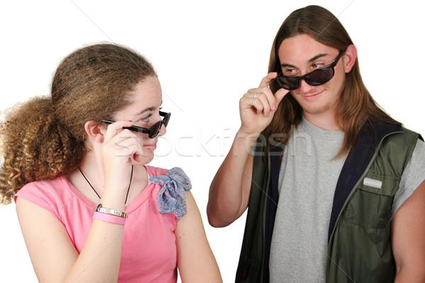 Eerste zicht teen jongen meisje uit Stockfoto © lisafx