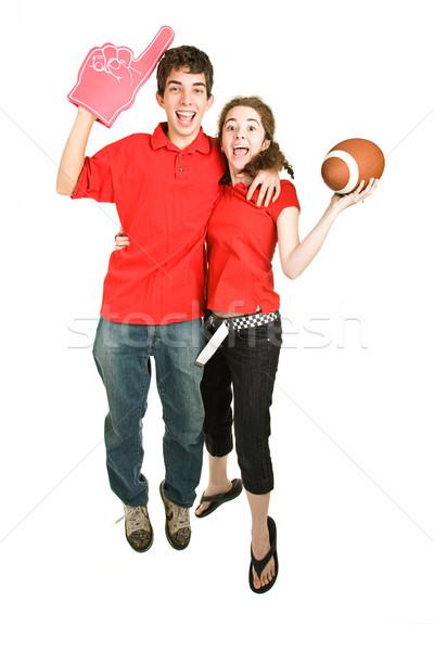 Piłka nożna fanów skok radości dwa entuzjastyczny Zdjęcia stock © lisafx