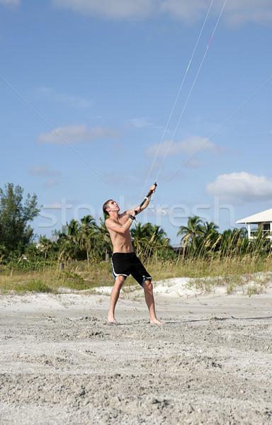 Parasailer on Beach Stock photo © lisafx