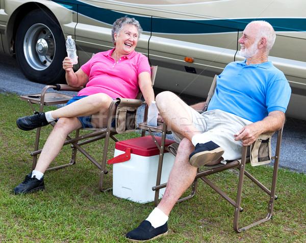 Camping diversão senior sessão cadeiras Foto stock © lisafx