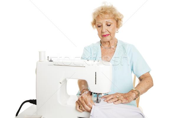 Geschoold senior vrouw gordijnen naaimachine Stockfoto © lisafx