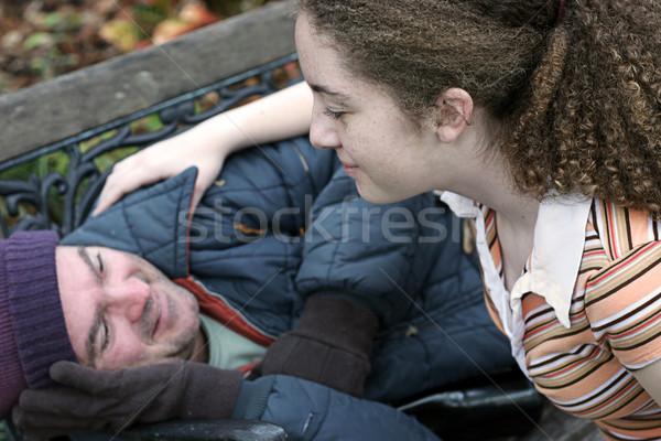 Tini önkéntes tinilány önkéntesség segítség hajléktalan Stock fotó © lisafx