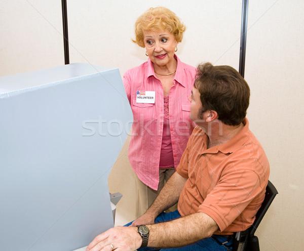önkéntes szavazás gép idős nő új Stock fotó © lisafx