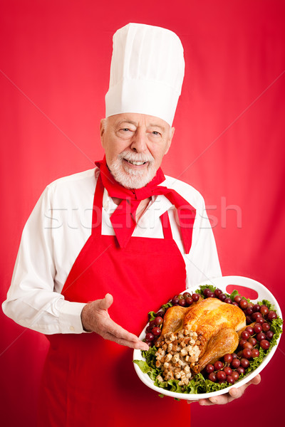 Experienced Chef Holding Holiday Dinner Stock photo © lisafx