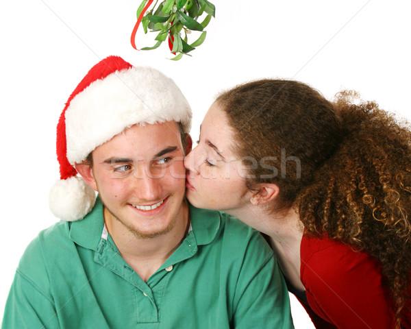 Karácsony csók fagyöngy tini fiú barátnő Stock fotó © lisafx
