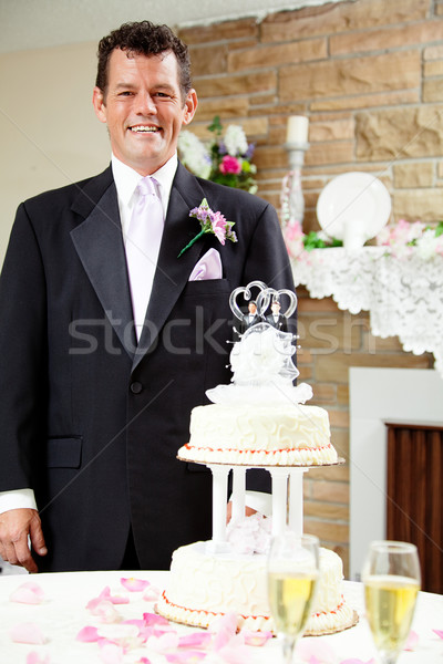 Bruidegom homo bruiloft knap permanente naast Stockfoto © lisafx