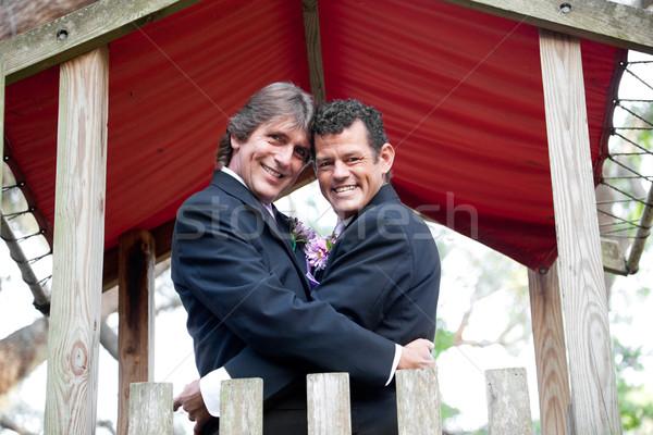 Newlyweds Under Canopy Stock photo © lisafx