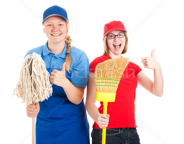 Stock Photo of Enthusiastic Teen Workers - Thumbs Up Stock photo © lisafx