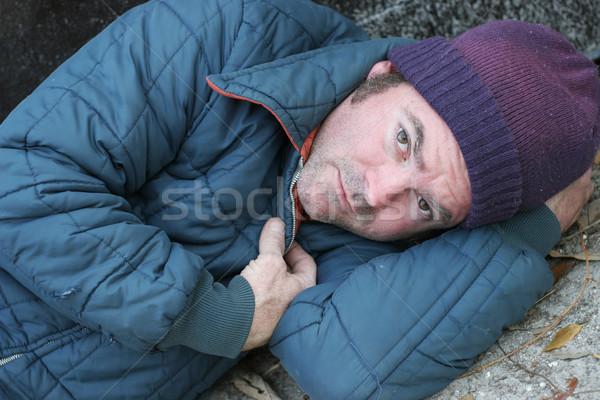 Hajléktalan férfi szemek közelkép portré férfiak Stock fotó © lisafx