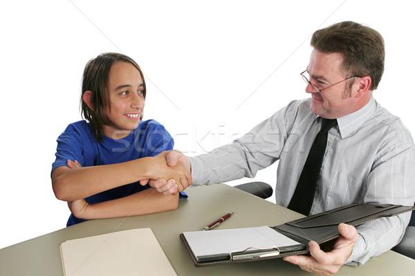 Bem sucedido entrevista de emprego homem adolescente menino primeiro Foto stock © lisafx
