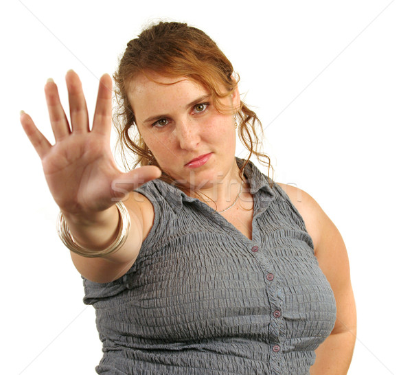 Praten hand mooie Rood meisje houding Stockfoto © lisafx