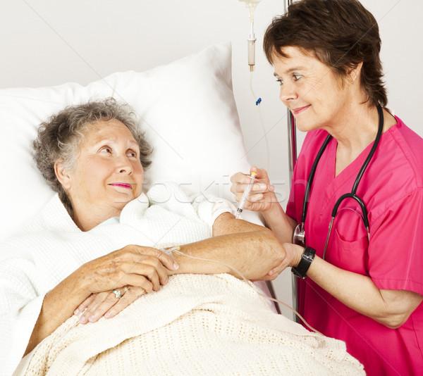 Stok fotoğraf: Hastane · hemşire · enjeksiyon · yaşlı · hasta · kadın