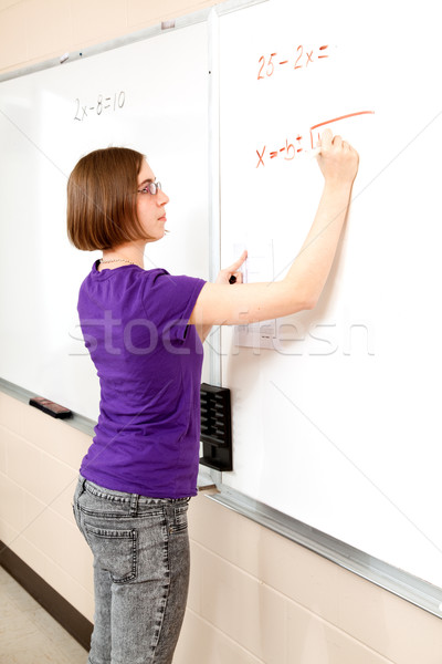 подростка девушка передовой Math студент интеллектуальный рабочих Сток-фото © lisafx