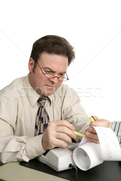 会計 蛍光ペン 男 孤立した 白 オフィス ストックフォト © lisafx