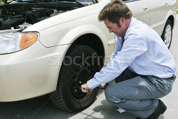 Flat Tire - Lossen Lugs Stock photo © lisafx