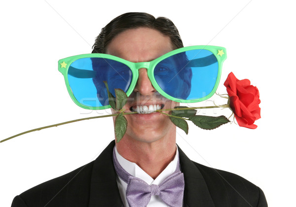 Belachelijk romantische man smoking steeg mond Stockfoto © lisafx