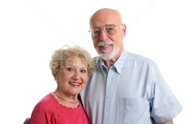 Photo stock: Couple · de · personnes · âgées · ensemble · horizontal · séduisant · blanche · vue