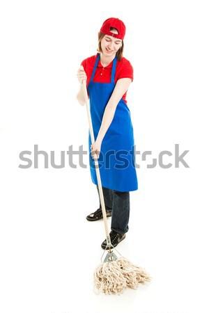Teen Worker Mopping - Full Body Stock photo © lisafx
