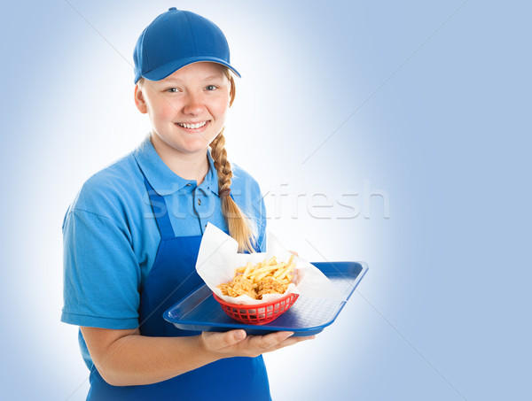 Fast Food Worker on Blue Stock photo © lisafx