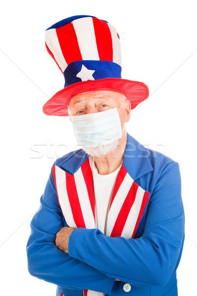 Amerikai járvány szimbólum nagybácsi visel arc Stock fotó © lisafx