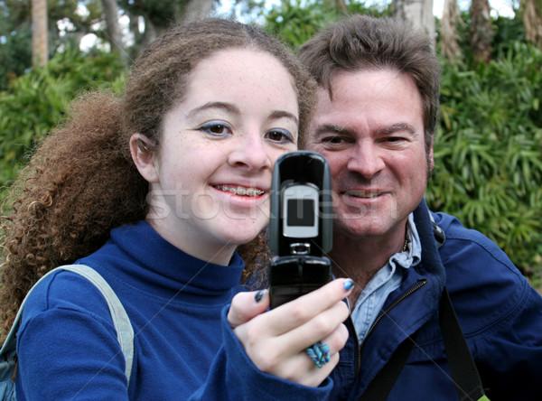 Teen Dad & Camera Phone Stock photo © lisafx