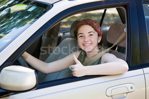 Teen bestuurder cute rijden test Stockfoto © lisafx