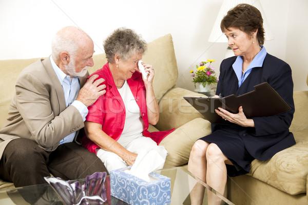 Starszy kobieta depresji terapeuta cierpienie żal Zdjęcia stock © lisafx