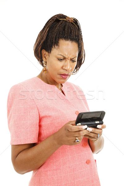 Bad news tekst dość kobieta interesu odizolowany biały Zdjęcia stock © lisafx