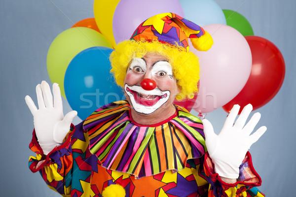 рождения клоуна удивление С Днем Рождения шаров , держась за руки Сток-фото © lisafx