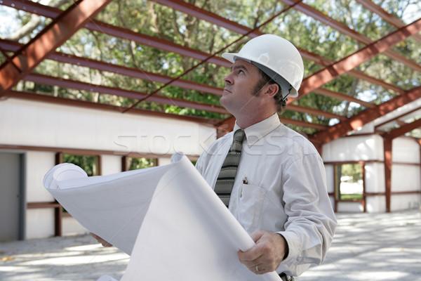 Blaupausen Stahl Bau halten schauen Dach Stock foto © lisafx