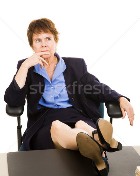 Businesswoman at Desk - Worried Stock photo © lisafx